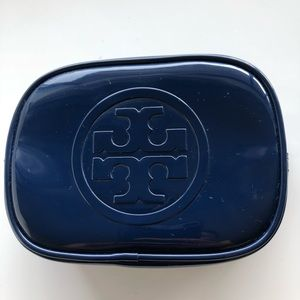 NEW Tory Burch enamel cosmetic bag in navy